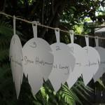 wedding reception leaf seating tags