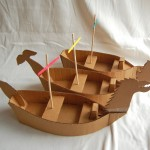 Cardboard Ships Kids Craft Tutorial and Pattern