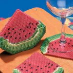 Free Watermelon Slice Coasters Plastic Canvas Pattern