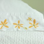 Stenciled and Embroidered Lazy Daisy Pillowcases