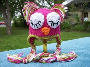 Sleeping Owl Baby Hat Crochet Pattern