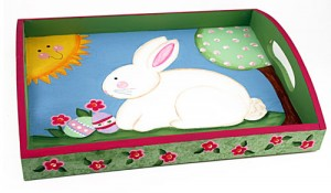 Spring Bunny Painted Tray
