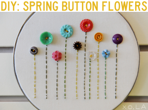 Spring Button Flowers Embroidery