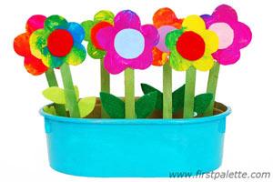 Plastic Wrap Flowers Kids Craft