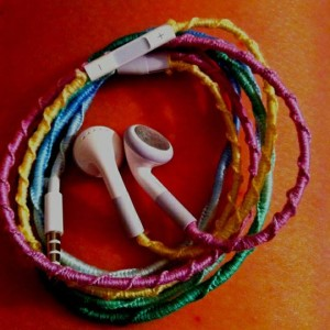 embroiery floss wrapped headphones