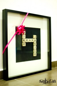 Homemade Scrabble Tiles Names Art