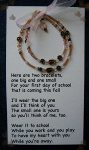 Mommy and Me First Day of School Bracelet Poem