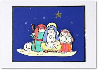 Nativity Stamped Christmas Card