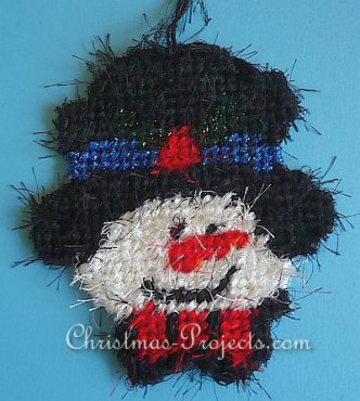 Plastic Canvas Snowman Christmas Ornament Pattern