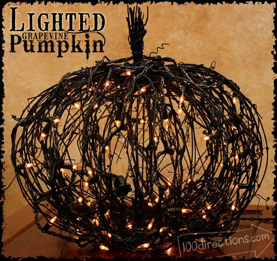 Black Grape Vine Lighted Pumpkin Tutorial