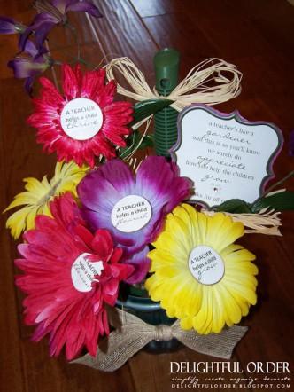 Teacher Gift Flower Pens and Poem