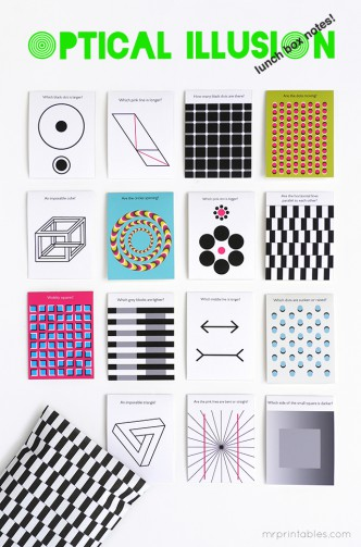 Optical Illusions Printable Lunch Box Notes
