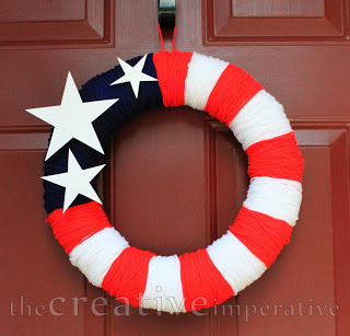 American Flag Yarn Wreath Tutorial
