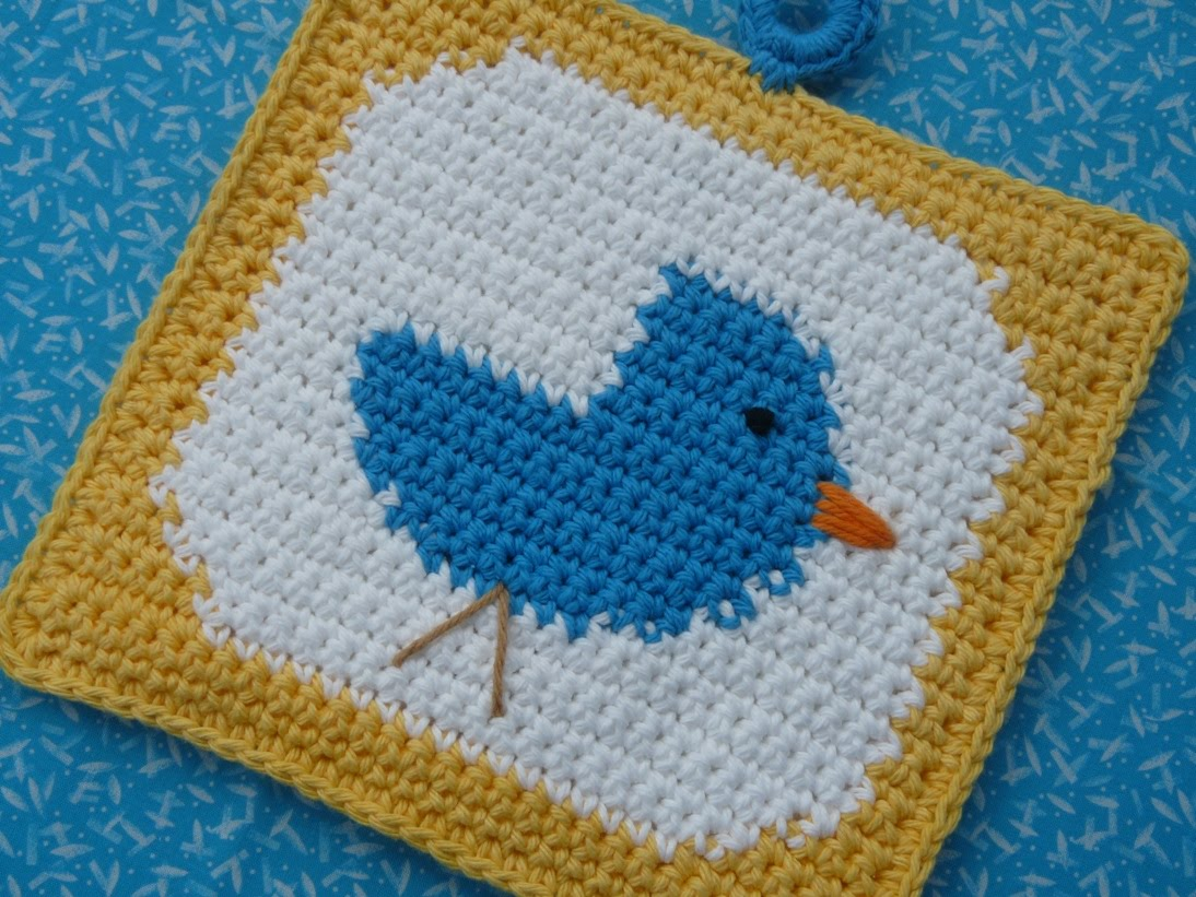 Bluebird Potholder Crochet Pattern