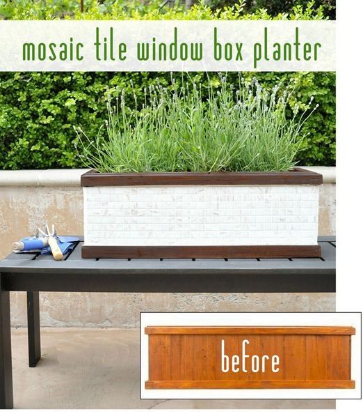 Mosaic Tile Window Box Planter Tutorial