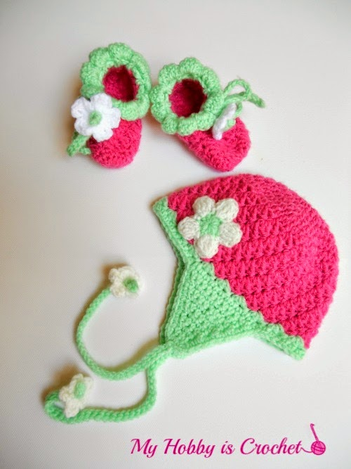 Blooming Strawberry Baby Hat and Booties Free Crochet Pattern
