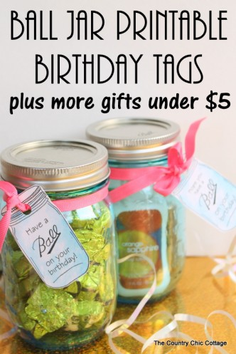 Mason Jar Printable Birthday Tags