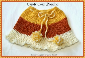 Candy Corn Kids Poncho Crochet Pattern