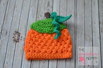 Crochet Puff Stitch Pumpkin Beanie Free Pattern