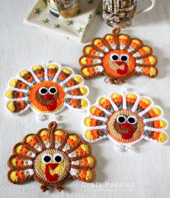 Crochet Turkey Coasters Free Pattern