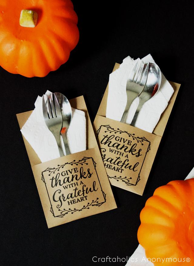 Thanksgiving free printable utensil holder allcrafts