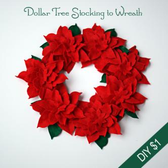 DIY Dollar Store Christmas Poinsettia Felt Wreath