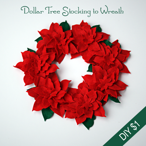 DIY Dollar Store Christmas Poinsettia Felt Wreath