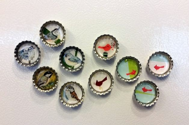 Recycled Christmas Card Craft: Magnets