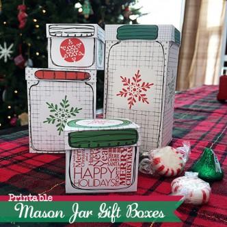 Printable Mason Jar Gift Boxes