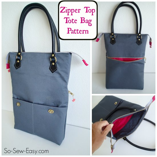 Zipper Top Tote Free Bag Pattern