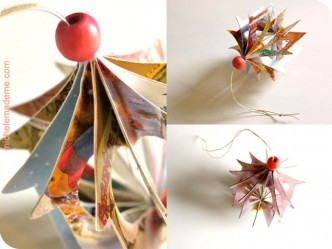 Recycled Christmas Card House Ornaments