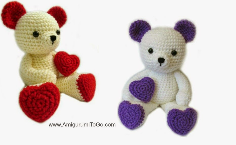 This valentine teddy bear crochet pattern is a perfect little lovey to