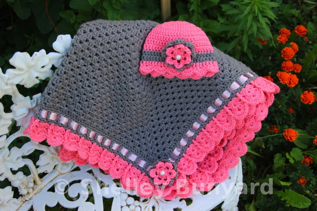 Crochet Patterns Granny Square Baby Blankets : Granny Square and Ribbon Baby Blanket Crochet Pattern - AllCrafts ...