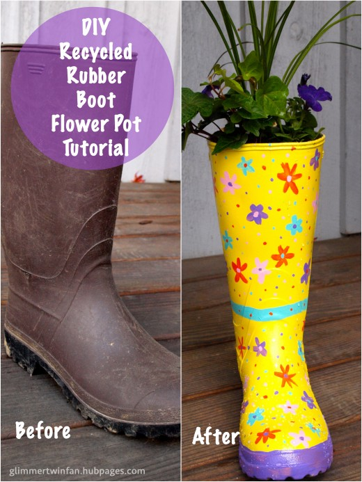 Recycled Rubber Boot Flower Pot