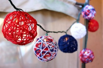 Patriotic Red, White and Blue Yarn String Lights