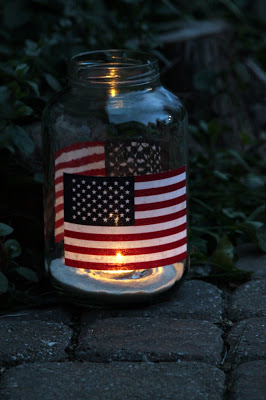 Easy Patriotic Mason Jar Luminaries