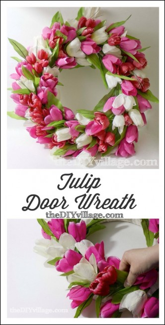 DIY Spring Tulip Door Wreath