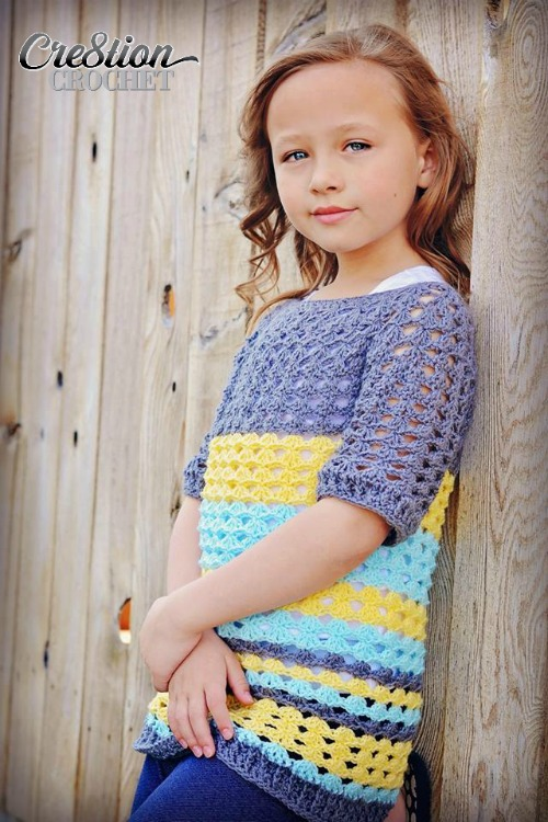 Ribbed Shell Tee Free Crochet Pattern