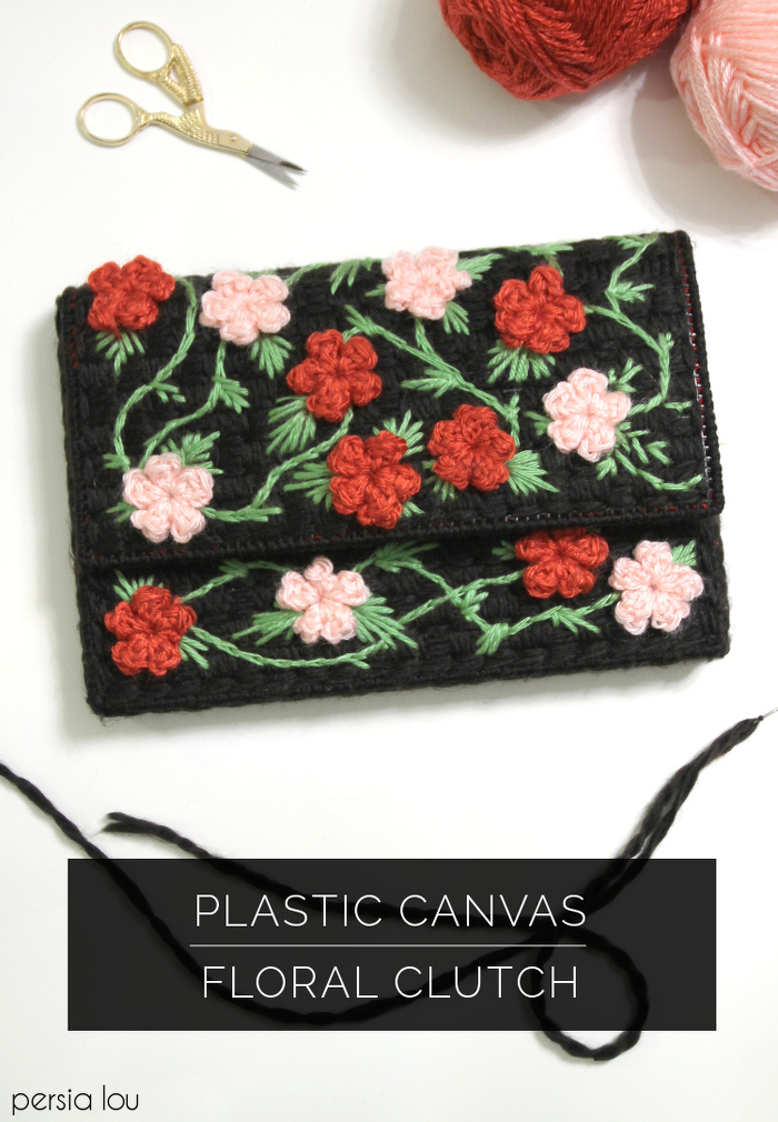 Plastic Canvas Floral Clutch