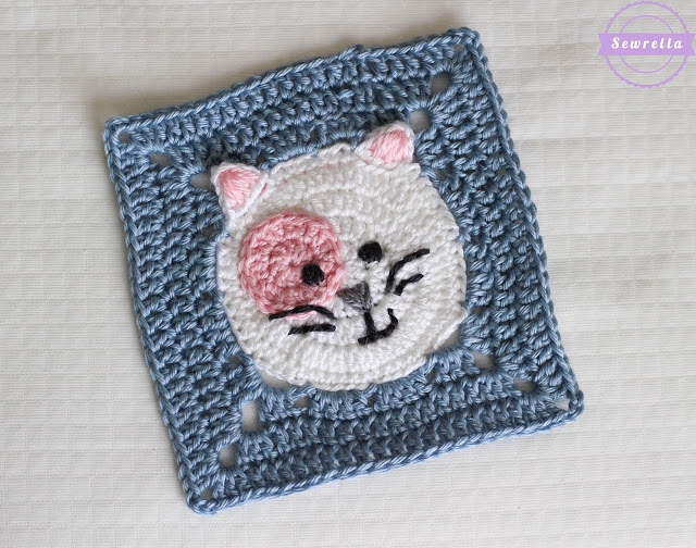 Kitty Cat Crochet Granny Square