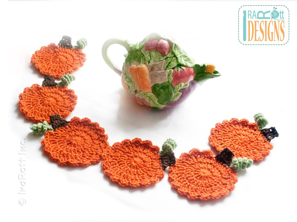 Crochet Pumpkin Coasters Pattern