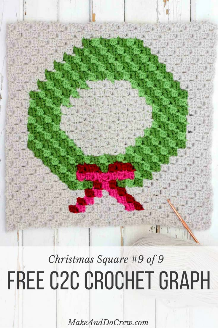 Wreath Corner-To-Corner Christmas Crochet Pattern