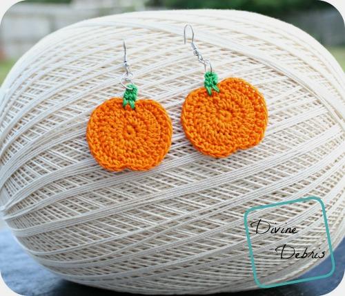 Pumpkin Earrings Free Crochet Pattern
