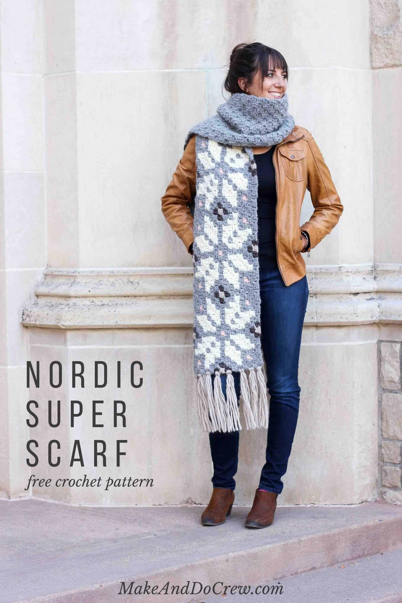 Nordic Crochet Super Scarf Free Pattern