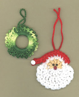Crochet Santa and Wreath Ornament Patterns