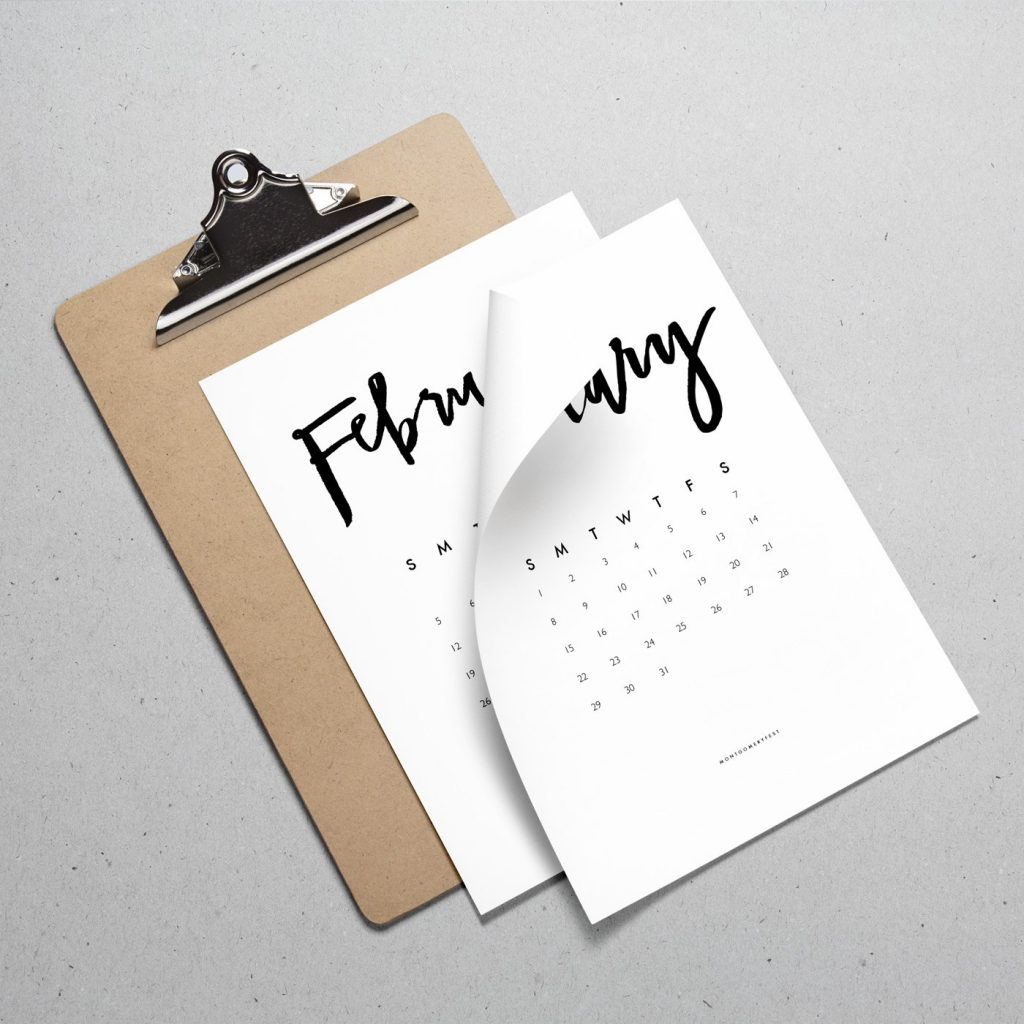 2017 Hand Lettered Calendar Printable