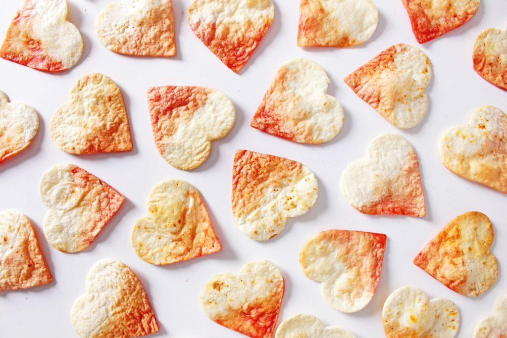 DIY Valentine's Dip Dye Heart Tortilla Chips