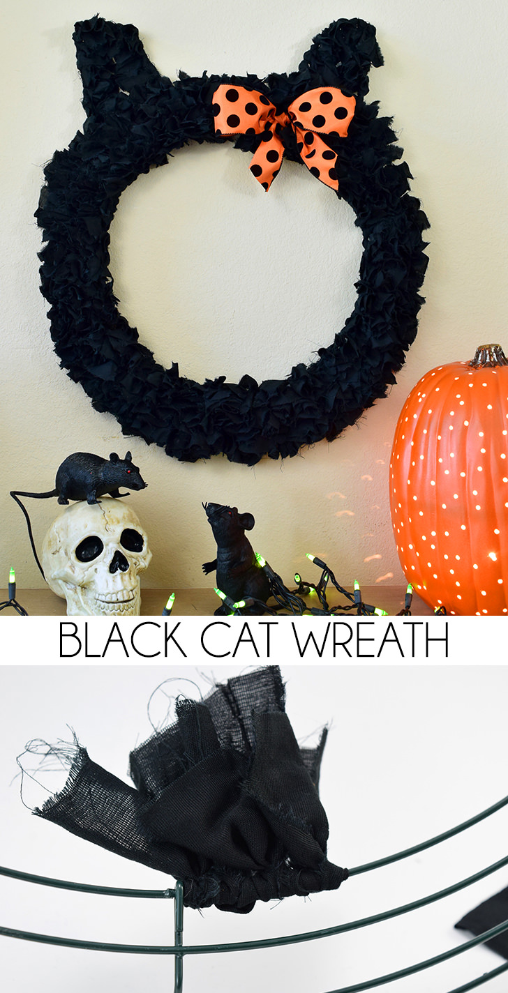 Black Cat Wreath Halloween Tutorial