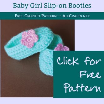 Baby Girl Slip on Booties Free Crochet Pattern