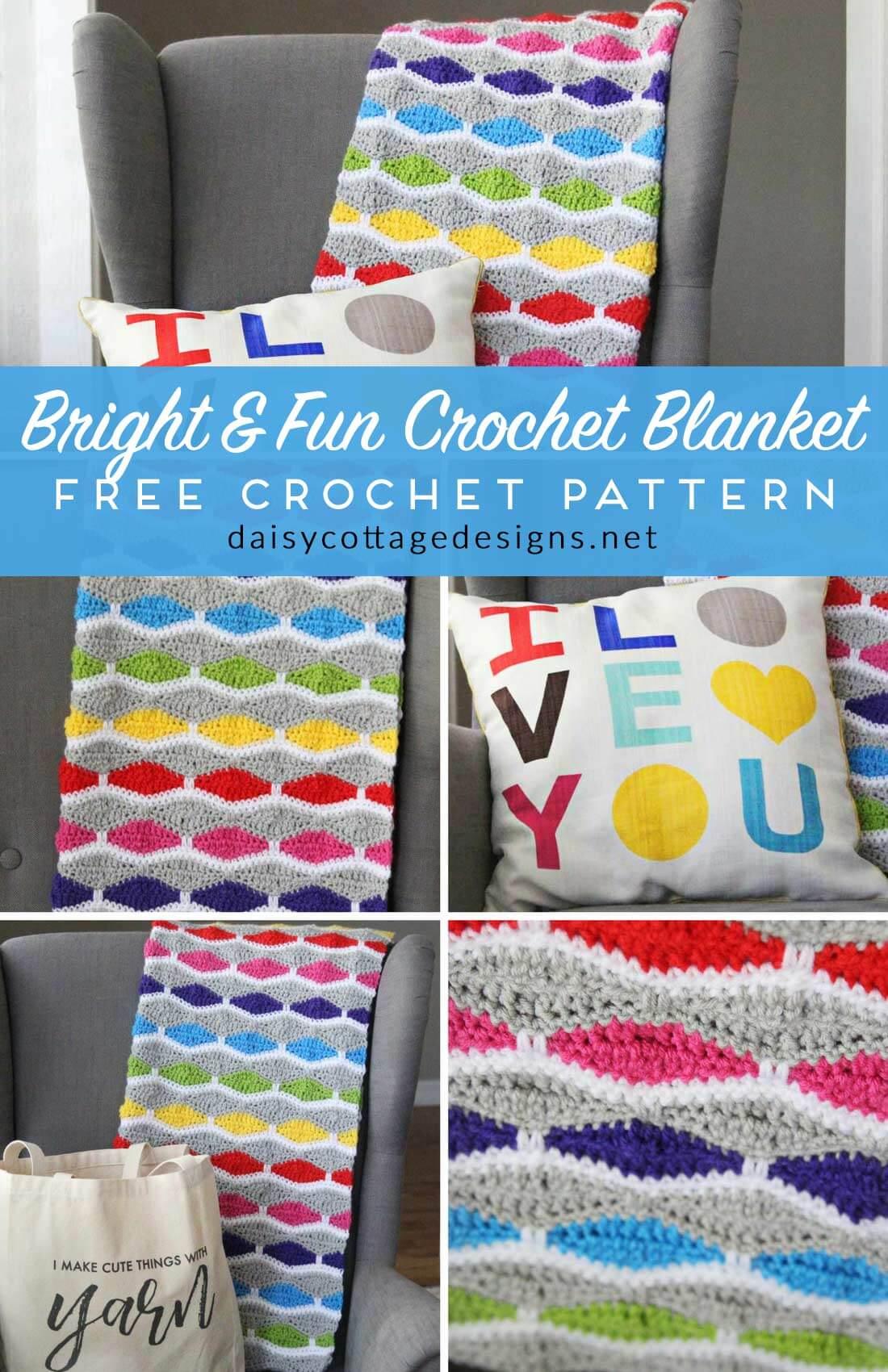 Bright & Fun Free Blanket Crochet Pattern